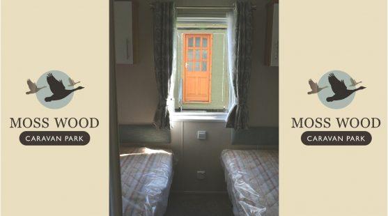 Twin bedroom of Willerby Granada Caravan at Moss Wood Caravan Park