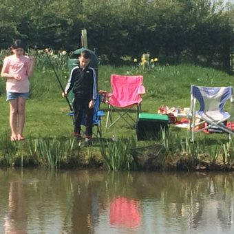 Children fishing at Moss Wood Caravan Park