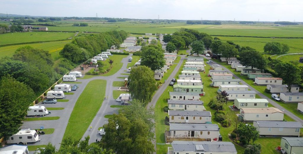 Aerial shot of Moss Wood Caravan Park