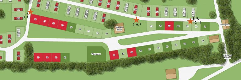 Bird box locations at Moss Wood Caravan Park