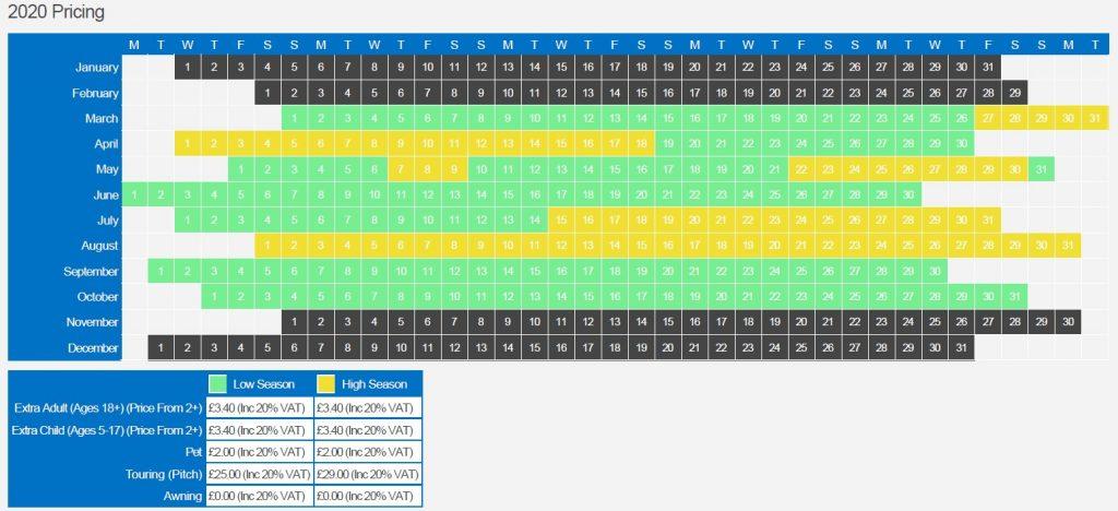 2020 Price grid
